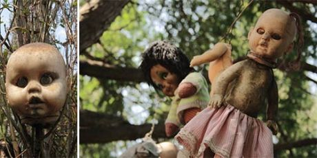 Creepy Island of the dolls, dark and eerie tourist destination in mexico, La Isla de las Munecas, Don Juan Santana, supernatural paranormal tourism, dead dolls, doll body parts, scary dolls
