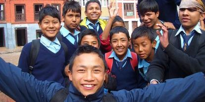 Nepal Boys, exclusive school, boys friends in school, boys classroom, school children, boy pals, happy school boys, boys in blue shirt and backpacks