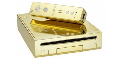 Golden Wii, ridiculous expensive nintendo wii, gold plated game consoles, most beautiful Wii for the rich