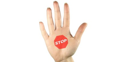Stop sign, open palm, show of hand, gesture