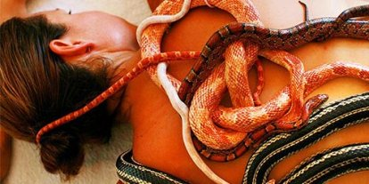 Snake massage, non poisonous snakes massaging your body, slicky new and novel therapy idea, icky snakes on woman's body