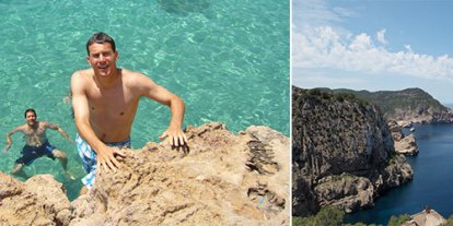 Vacation of a lifetime,dream vacation in beach, Spain, mental health and psychology of travel and vacation, clear water, tropical beach, young man