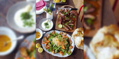 Full dish in less than 30 minutes, Indian-style steak, spinach and paneer cheese salad, naan breads and mago desserts for four - all made in less than 30 minutes, Indian-style steak, healthy foods, indian steak foods, salad with lemon