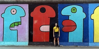 Colorful street Graffiti, art, street art, vandalism, cartoon faces, cool wall, woman in yellow shirt