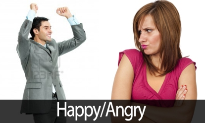 very angry and happy man and woman, successful young guy elated, opposite and polar emotions, life situations, decisions