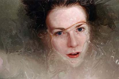 Alyssa Monks's painting called Stare, has a woman submerged in water that looks like a photo but is a painting