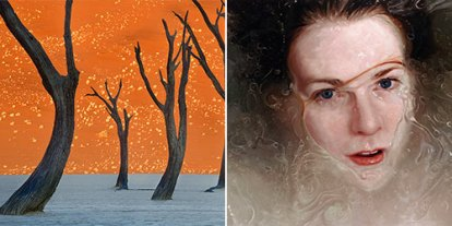 Alyssa Monks, Frans Lanting, woman painting, orange sky, nature photography, water photography, photo looks like paintings, art techniques, deception