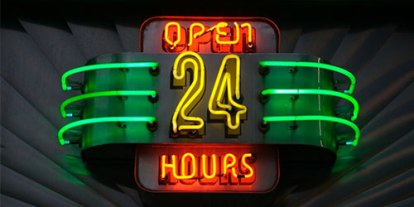 24 hours society, 24 hours lifestyle of people, restaurant and cafe open for 24 hours, sleepless nights, spending the night outside, 24 hours sign with lights, new street lights