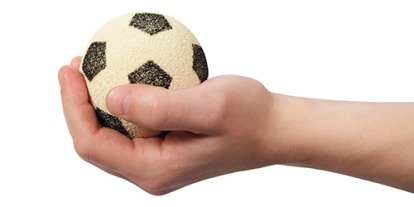 Athletes' performance, making mistake on sporting events, psychological new study said squeezing a ball or clenching left hand can improve athletes' performance, trick and techniques to work under pressure, soccer ball in hand, small soccer ball for kids